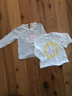 2 X Seed And Country Road Baby Girls L/s Tops Size 0