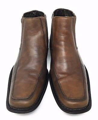 02dcaf77d0a STEVE MADDEN MENS Shoes Brown Leather Slip On Ankle Boot Size 9.5