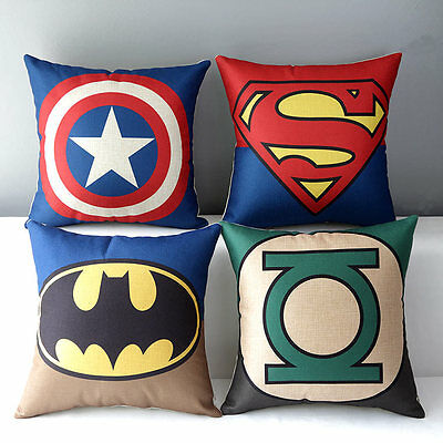 Justice League Superman Batman Green Lantern Iron Man Pillow Case Cushion Cover