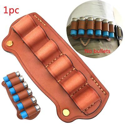 6Round Cowhide Leather Tactical Ammo Bullet Holster Shotgun Shell Holder Pouch