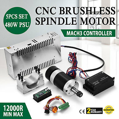 CNC 400W Brushless Spindle Motor & Mach3 PWM Speed Controller & Mount + 48V PSU