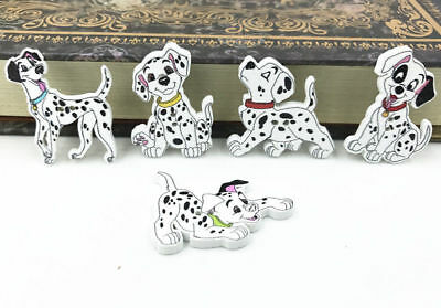 50pcs Mixed Spotted Dog Shape Wooden Buttons sewing Kid's Crafts Scrapbooking
