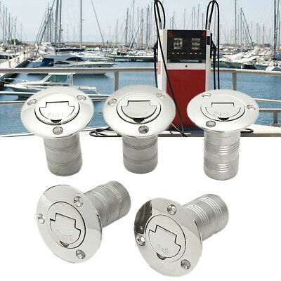1-1/2'' Boat Fuel Deck Filler Keyless Cap 316 Stainless Steel Marine Angled Fill