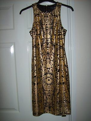 Gold Cocktail Dress Size 8 Metallised Gold / Black Wiggle Bodycon Cruise Party