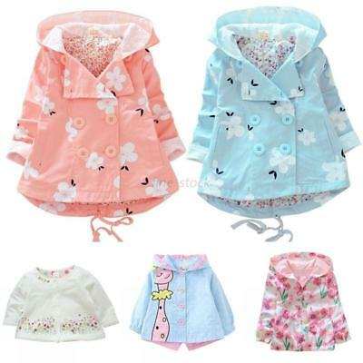 Baby Toddler Kids Girls Autumn Spring Hooded Floral Coats Outwear Jackets Trench