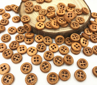 100pcs Round 4-holes Wooden Buttons Fit Sewing  DIY Scrapbooking 10mm