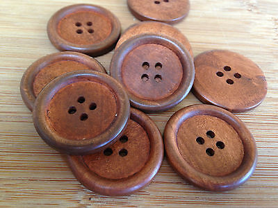 10 x 40mm Red Brown Wood Buttons Button Wooden Sewing Coat Jacket Craft