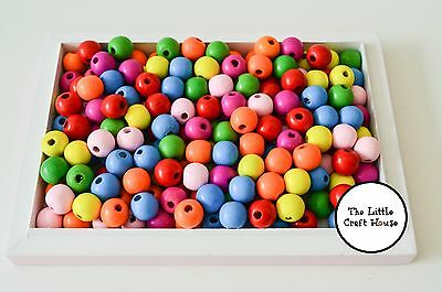 100 x 14mm Coloured Round Wood Beads Random Mix Wooden Bead Teachers Resource