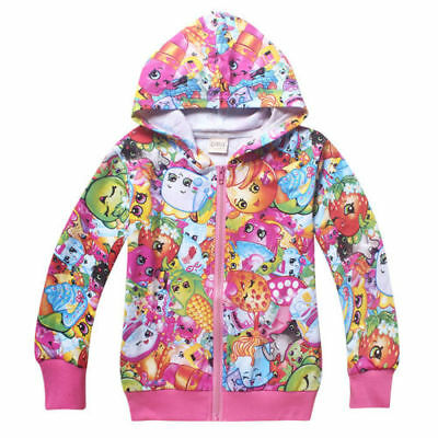 2017 New Kids Girls SHOPKINS Zip Coat Spring Fall Casual Clothes Hoodies Jacket