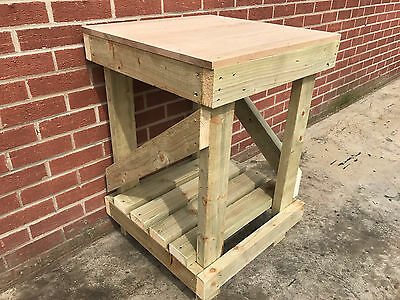 SUMMER SALE! 2ft SQUARE SOLID OAK TOP WORK BENCH - STRONG AND STURDY - £50 OFF!