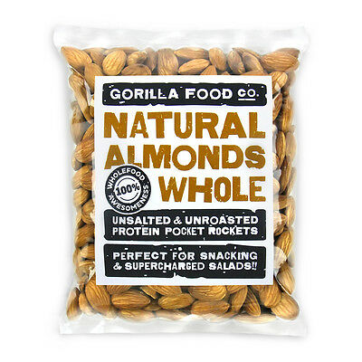 Gorilla Food Co. Natural Almonds Whole Raw - 100g (Great value £ per 1kg)