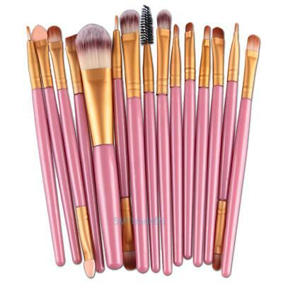 15Pcs Pro Makup Brushes Kit Eyeshadow Eyebrow Lip Foundation Powder Tool Set New