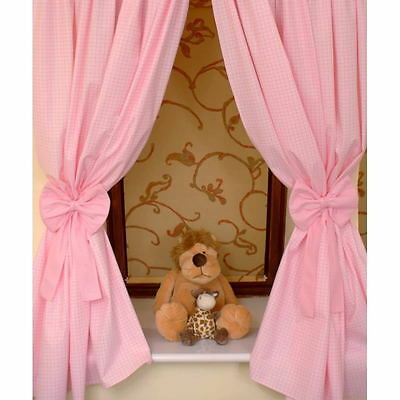 Nursery Curtains with Decorative Bows For Baby's Room 62x62inch - Pink Check