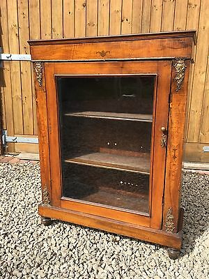 Victorian Pier Walnut Inlaid Cabinet With Key and Working Lock