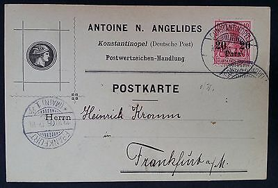 RARE 1890 Turkey Antoine Angelides Postcard ties 10 Pfg stamp with surch