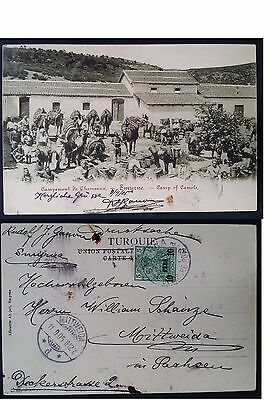 "RARE 1905 Turkey Postcard ""Smyrne Camp of Camels"" ties 5 Pfg stamp with surch"