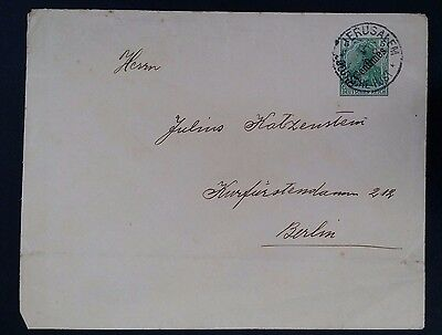 "SCARCE 1908 Jerusalem (German Post Turkey) Cover ties 5 Pfg stamp ""Centimes"" O/P"