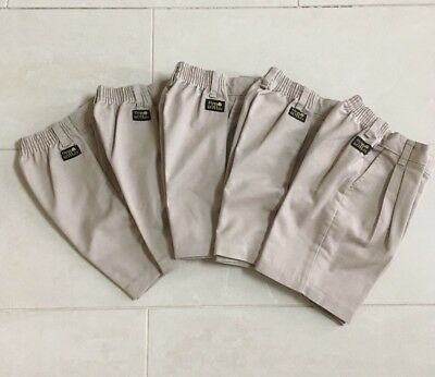 Lot 5 Boys Sz 6 Pleated Front Elastic Waist Uniform Shorts Flynn O'Hara - *Read