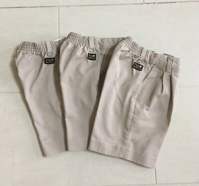 Lot 3 Boys Sz 7 Reg Pleated Front Elastic Waist Uniform Shorts by Flynn O'Hara