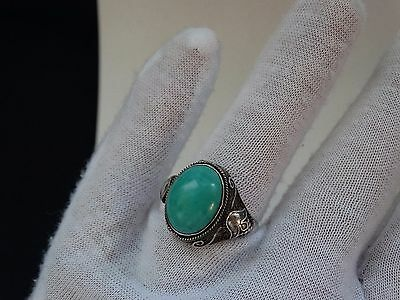 vintage Chinese silver ring turquoise jewel silver sample 959 SUPER RARE RING