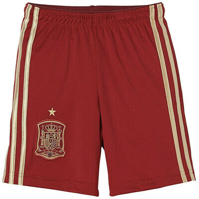 adidas Spain Adult Football Shorts Red Gold Home Espana 2014-15 XS