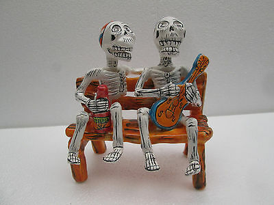 CATRINA friends in a bench tequila guitar mexican folk art day of the dead 8""