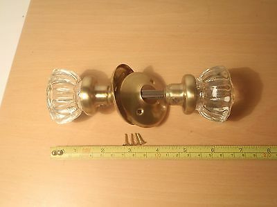 A Vintage Pair Of Glass Knobs With Brass Back Plates Mortice Or Rim Lock Fit.