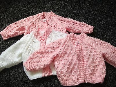 Hand Knitted Bundle of Cardigans for Newborn Baby Girl