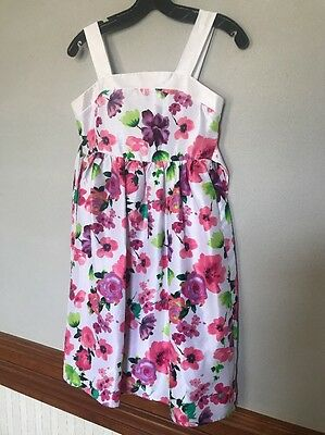 CHEROKEE Girl's Size 12 White Pink Green Sleeveless Summer Dress