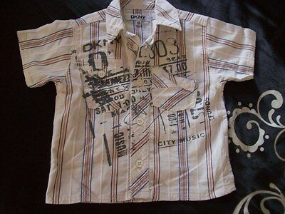 DKNY Baby Designer Shirt age 6 months grey, red blue graphic