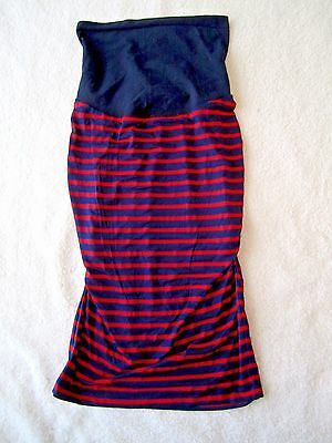 A Pea in the Pod Stretch Rayon Ruched Side Red Navy Blue Midi Skirt Large NEW
