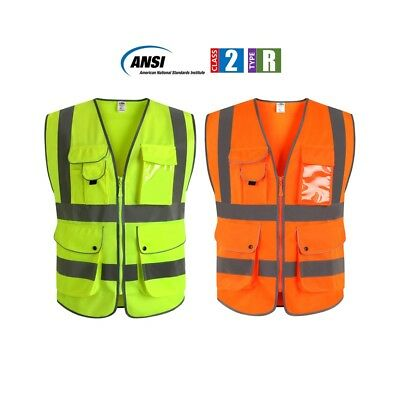 Safety Vest Reflective High Visibility Zippers 9 Pockets ID Pouch ANSI Class 2