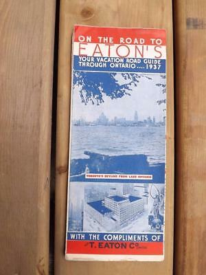 On The Road To Eatons Vacation Road Guide Map Through Ontario 1937 Store Ads