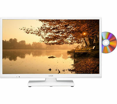"""LOGIK 24"""" LED TV with Built-in DVD Player+USB Record & Play+Hdmi+Freeview*White*"""