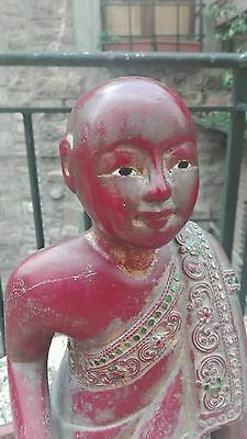 Antique Burmese Carved wood Lacquered & Gilt Figure Kneeling Monk Mandalay 19th