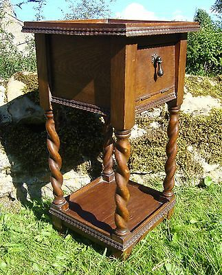 Vintage Wooden Side / Occasional Table With Cupboard - Pie Crust / Barley Twist