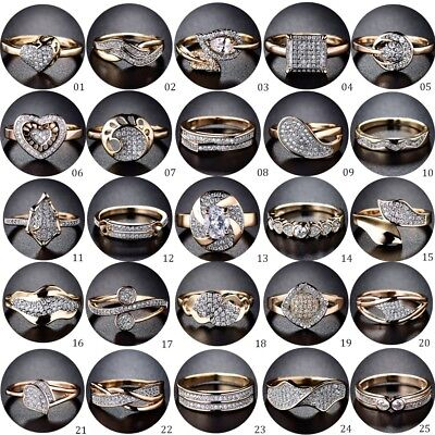 Women Promise Gold Platinum Cubic Zirconia Crystal Fashion CZ Rings Jewellery