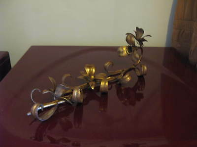Vintage Toleware Gold Italy Tag Single Wall Sconce Candle Floral With Leaves