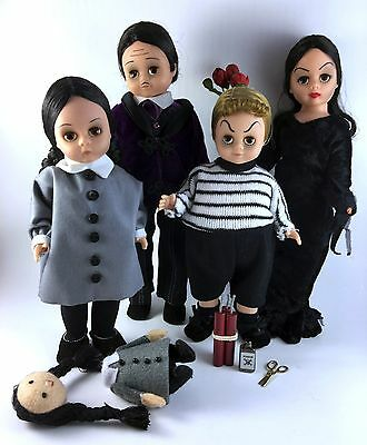 """The Addams Family Madame Alexander Dolls Lot Set of 4 w/ Accessories Mint 10"""" 8"""""""