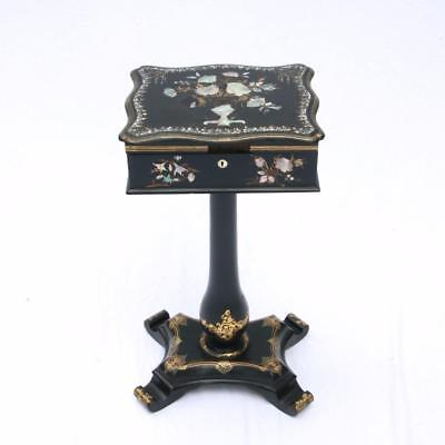A Victorian Papier Mache Sewing Table Pearl Inlaid Black Lacquered Stand Antique