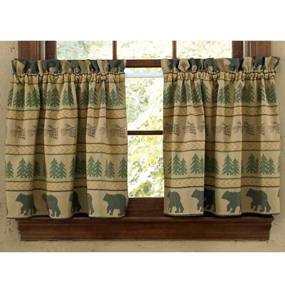 Park Designs Bear Tracks Rustic Cabin Curtain Tiers