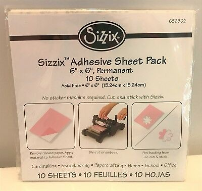Sizzix ADHESIVE SHEET Pack Die Cuts Permanent 6x6 10 Sheets