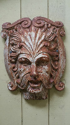 Cast Iron Northwind Face Gothic Revival Satyr Architectural Salvage Head Antique