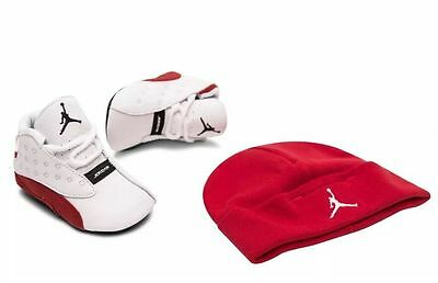 [552664-122] Air Jordan Retro 13 Xiii Infant Toddler Cherry Red-White W/ Hat 1-4