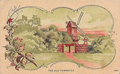 Postcard Greetings The Old Turnstile Windmill Country Scene Vintage Unposted PC