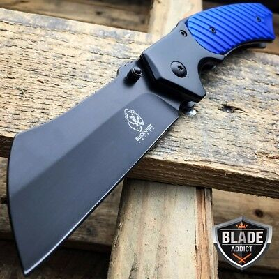 "8"" TACTICAL Spring Assisted Open Pocket Knife CLEAVER RAZOR Blue BLACK Blade -T"