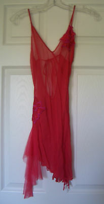 Women's Size Small Red Sheer Nitie Lingerie w/ Adjustable Straps