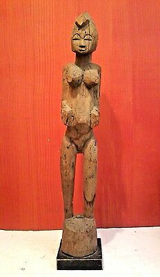 "ANTIQUE AFRICAN SENUFO DEBLE RHYTHM POUNDER Wood Statue 39"" Tall IVORY COAST"