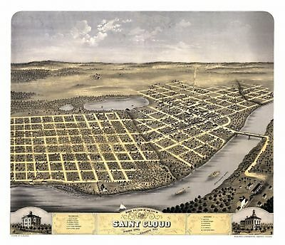 Old Map of Saint Cloud Minnesota 1869 Stearns County Canvas Art -  (24 x 36)