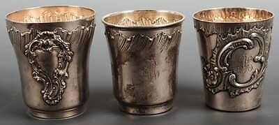 Antique Three French Sterling Silver (950) Minerva Large Beakers